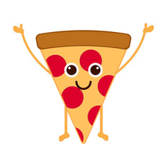 Isolated happy slice of pizza emote