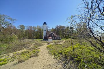 lighthouse on shore of lake Erie