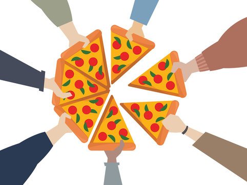 Illustration of hands sharing a pizza