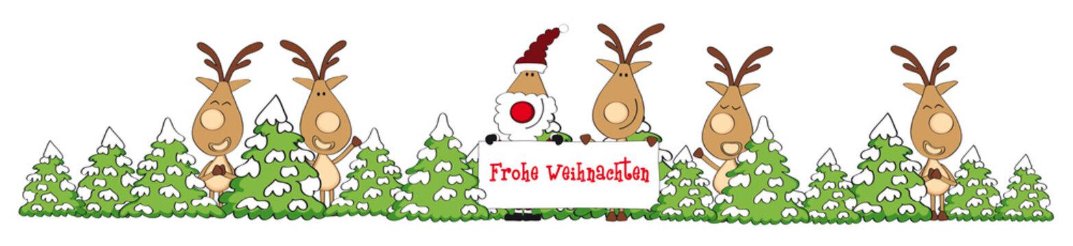 Weihnachten Banner Elche und Weihnachtsmann mit Schild im Wald mit Schnee, cartoon-IT