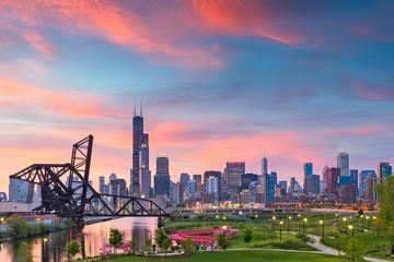 Photo sur Toile Chicago Chicago, Illinois, USA Park and Skyline