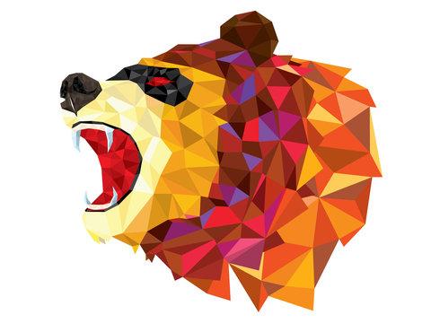 Low polygon BEAR geometric pattern. BEAR ANGRY vector eps10