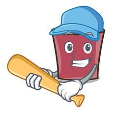 Playing baseball hot chocolate character cartoon