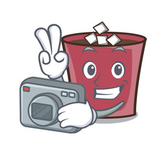 Photographer hot chocolate mascot cartoon