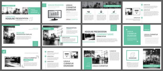 Obraz Green presentation templates for slide infographics elements background. Use for business annual report, flyer design, corporate marketing, leaflet, advertising, brochure, modern style. - fototapety do salonu