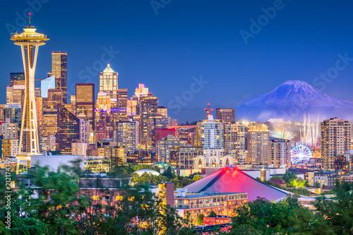Wall mural Seattle, Washington, USA Skyline