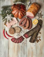 Sausages On A Wooden Desk