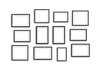 Black wooden photo frames mock up, twelve units collage, 3d illustration