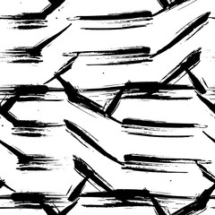 Grunge seamless pattern. Abstract dry brush strokes background. Black and white hand drawn texture. Vector illustration.