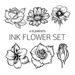 Summer flowers sticker set. Rose, daisy, poppy, amaryllis.
