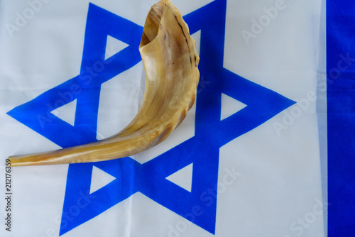 Shofar Horn On Israel Flag Shofar Yom Kippur Day Of Atonement