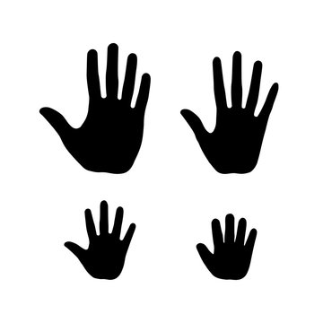 Set of human open palm hands. Man, woman, teenager and a baby handbreadth icons.
