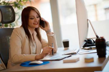 Young woman entrepreneur freelancer working.