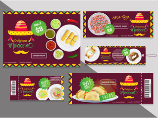 Collection of coupons or tags with different discount offers for Mexican food restaurants.