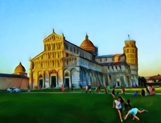 Square of Miracles Pisa. Leaning Tower, Duomo, Baptistry and Camposanto. Big size oil painting fine art. Modern impressionism drawn artwork. Creative artistic print for canvas, poster or paper.
