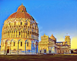 The Square of Miracles Pisa: The Leaning Tower, Duomo, Baptistry and Camposanto. Big size oil painting fine art. Modern impressionism drawn artwork. Creative artistic print for canvas, poster or paper