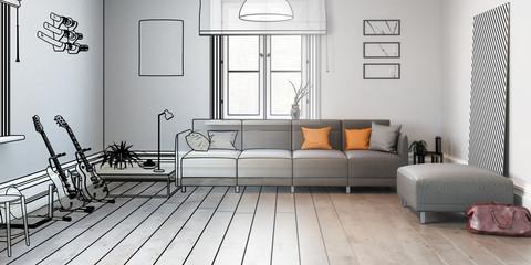 Sofa im Wohnzimmer (Vorschau panoramisch)