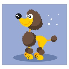 cute friendly yellow poodle dog mascot character cartoon