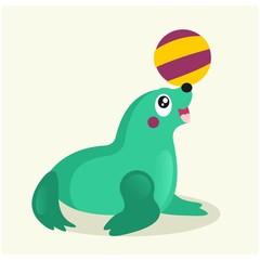 cute adorable circus seal green sea lion playing ball mascot character cartoon