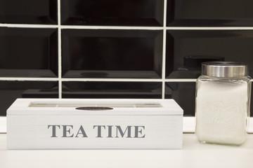 Rustic wooden  tea set with sugar jar