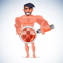 Naked man handling magnifier at his penis with censored skin. healthcare for sex or check your penis concept - vector