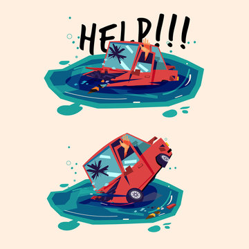 Car sinking on water in water. car accident - vector