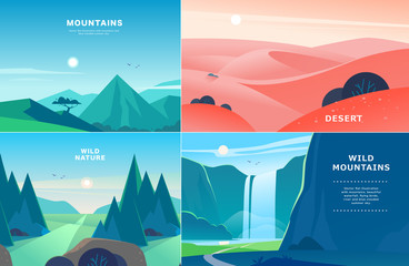 Poster de jardin Piscine Vector set of flat summer landscape illustrations with desert, waterfall, mountains, sun, forest on blue clouded sky. Good for travel camping tour poster, placard, flayer, leaflet, banner. Nature view
