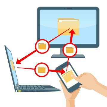 File sharing between smartphone laptop and computer vector illustration