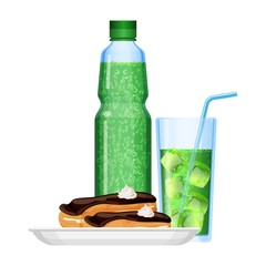 Fizzy drinks in bottle and cup with food vector illustration
