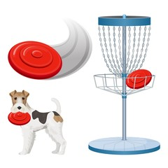 Frisbee golf game color vector illustration set poster