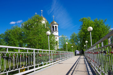 ZVENIGOROD, RUSSIA - May, 2017: Church of Ascension in spring sunny day