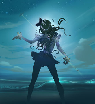 Cartoon anime illustration of a beautiful slim woman with long hair dancing on the moony background with a night starry sky and a ufo