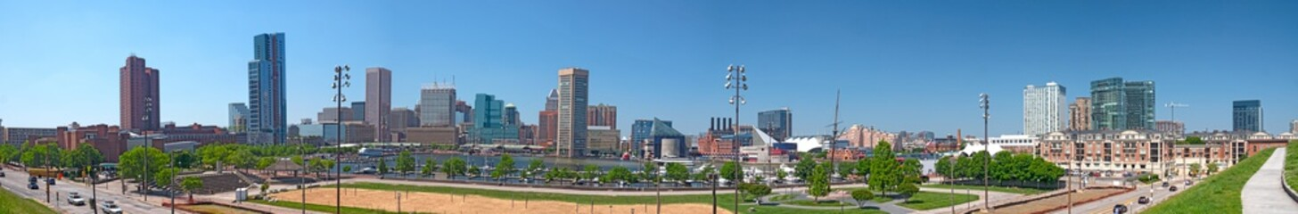 Baltimore Maryland Inner Harbor Waterfront Skyline Panoramic View From Federal Hill