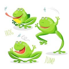Funny cartoon jumping frog set vector sketch drawing