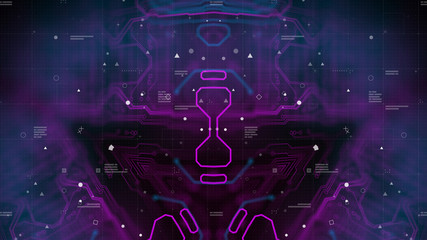 Mirrored pattern. Blue, purple background with digital integrated network technology. Printed circuit board. Technology background. Neon. 3D illustration. Computer infographics website.