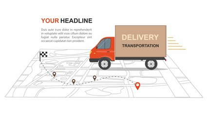 Red Cargo Delivery transporation Business infographic with transport