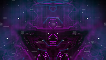 Symmetry pattern. Dark Purple Violet and Blue Microchip backdrop. Abstract background. Digital technology. PCB. Microchip link. 3d illustration. Background for computer graphic website internet.