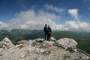 Tourists at the top of mount Oshten, Adygea.
