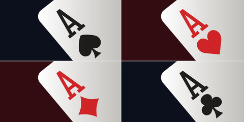 carte à jouer - as - poker - carré d'as - gagner - fond - concept - casino - Las Vegas - symbole