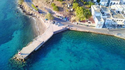 Aerial birds eye view photo taken by drone of picturesque port of Patmos island called Skala, Dodecanese, Greece
