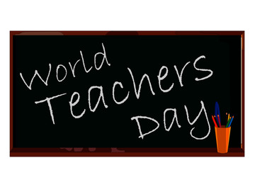 Illustration of the school board with the inscription World Teacher's Day