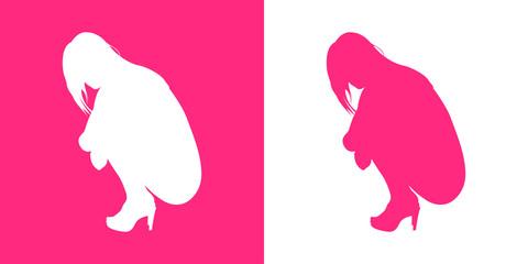 Icono plano silueta chica desnuda agachada perfil en rosa y blanco