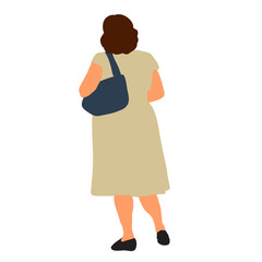 Wall Mural - vector, isolated, flat style woman is walking