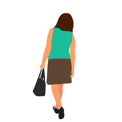 Wall Mural - isolated, flat style woman is walking