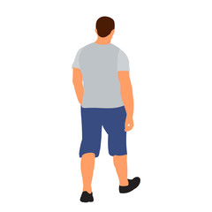 Wall Mural - isolated, flat style man is walking