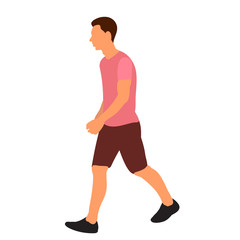 Wall Mural - vector, isolated, flat style man is walking