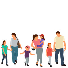 Wall Mural - isolated, flat style people go, set