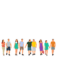 Wall Mural - vector, isolated, flat style people go
