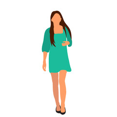Wall Mural -  isolated, flat style girl is walking