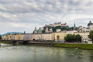 Salzburg city and Salzach river